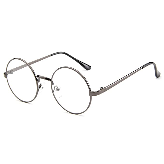 0f19f3f3feb1 Monkey Womens Korean Style Fashion Retro Round Plane Mirror Clear Lens  Sunglasses(C4