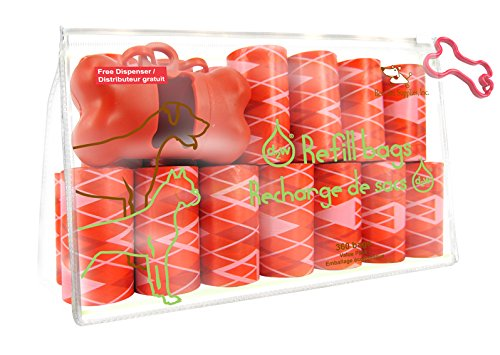 Best Pet Supplies  Inc  Scented Refill Rolls Poop Bags With Free Dispenser   Argyle Red  360 Bags