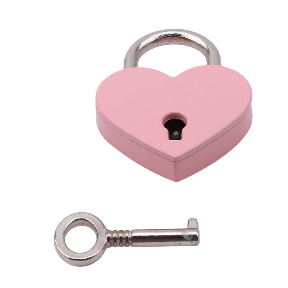 L shop r/étro vintage personnalis/é en forme de c/œur Cadenas avec cl/é de voyage bagages Valise Locker Lot 3*4cm//2.5cm rose