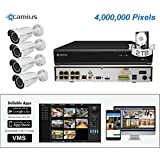 Camius 4MP Security Camera System with a 2TB 8CH NVR, 4 x 4MP Weatherproof Day Night PoE Bullet IP Cameras with 4x Zoom Lens, PC/Mac/Mobile access (Power-Over-Ethernet enabled)