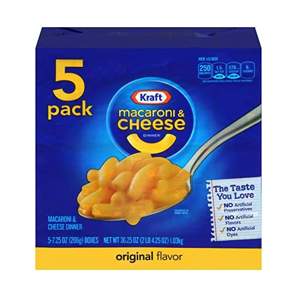 Kraft Original Macaroni & Cheese Dinner (7.25oz Boxes, Pack of 5)