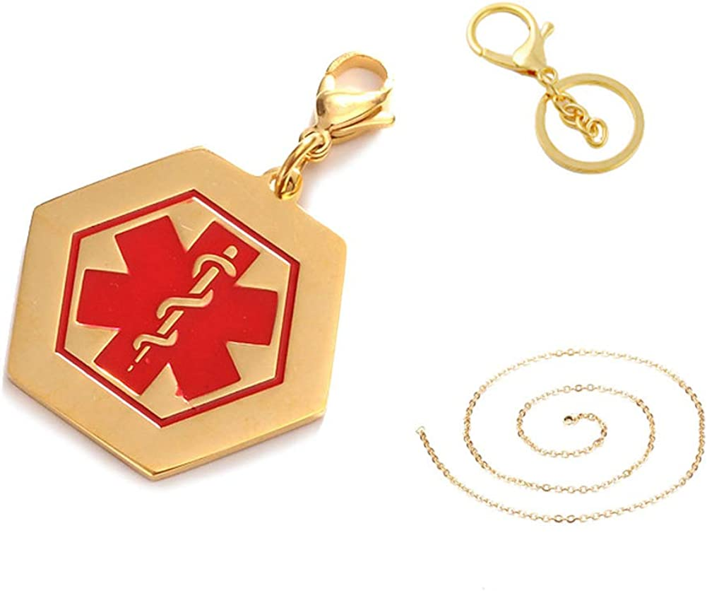 Custom Engraved Stainless Steel Medical ID Necklace Keychain,Gold Plated Sos Hexagon Medical Alert Allergy Pendant Key Ring for Men Women Kids Health Alert Monitoring Systems,Free Engraving