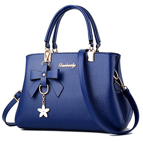 Top Blue Handle Bags Shoulder Barwell Women Leather Bag PU Handbags Tote q6AxwOa5