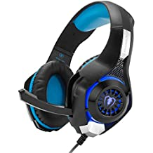 Gaming Headset, GM-1 Bass Enhanced Headphone for Playstation PS4 PSP Xbox One Tablet iPhone iMac iPad Samsung Smartphone, with Adapter Cable for PC with Voice Video Chat Microphone - Black Blue