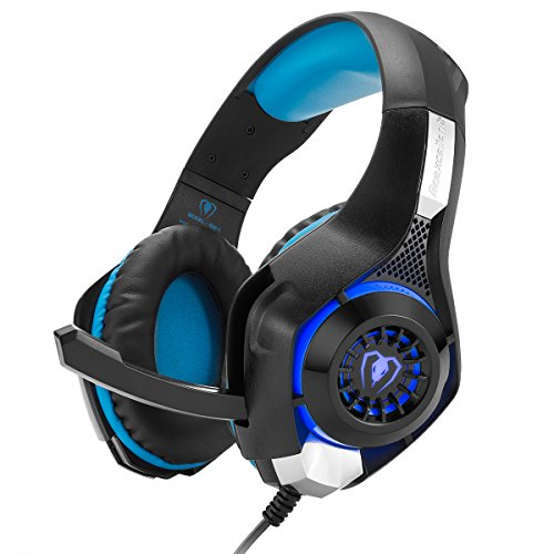 Gaming Headset, GM-1 Bass Enhanced Headphone for Playstation PS4 PSP Xbox One Tablet iOS iPad Smartphone Free Adapter Cable for PC with Mic Noise Cancelling Black Blue Review