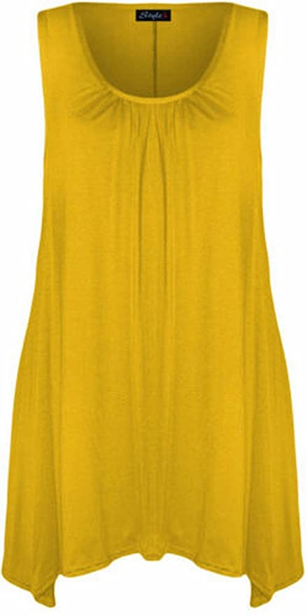 fcc05468f8b New Womens Plus Size Hanky Hem Long Tunic Dress Top 16-26 ( Yellow ...