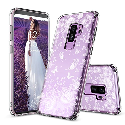(Galaxy S9 Plus Case, MOSNOVO White Rose Garden Floral Printed Flower Clear Design Plastic Back Hard Case with Soft TPU Bumper Protective Case Cover for Samsung Galaxy S9 Plus (2018))