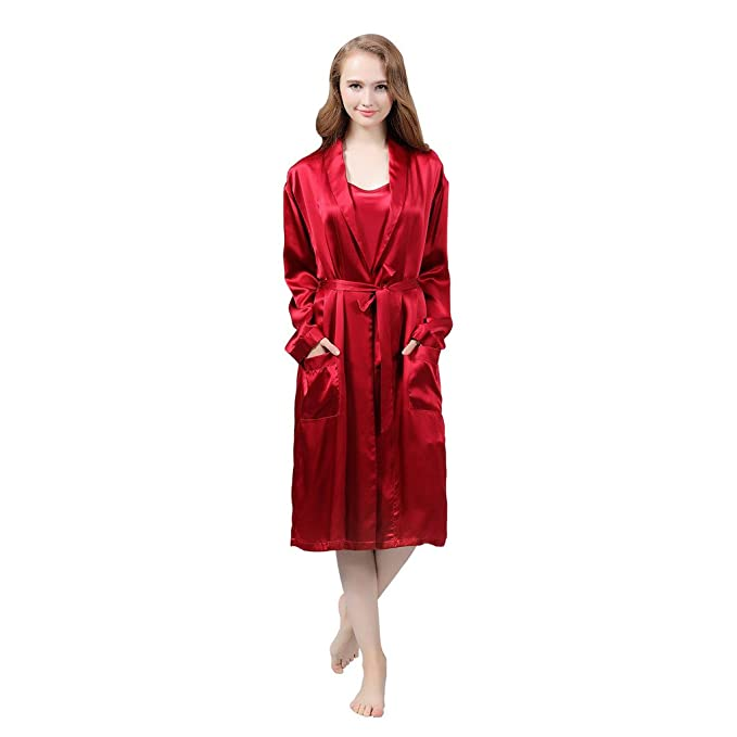 ef33b4b13566 VANSILK Womens 19mm 100% Mulberry Silk Robes Short Sleepwear with Pocket XL  Wine Red