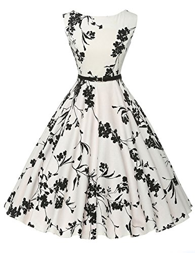 Sleeveless Classy Vintage Tea Dress with Belt Size