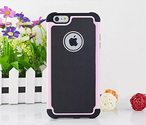 Housse PC + silicone hybrides Cas High Impact Defender Case Combo dur mous iPhone 6S Plus Case, iPhone 6 Case Plus, Lantier 2 en 1 hybride ne couvre rose