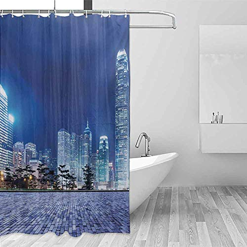 (Xlcsomf Printed Shower Curtain Urban Hong Kong Skyline Night Architectural Cityscape Skyscrapers Modern Photo Decorated Bathroom Royal Blue Purplegrey,W36 xL72)