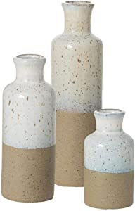 """Sullivans Modern Farmhouse Decorative Two-Toned Small Ceramic Vase Set of Three (3), 5"""", 7.5"""" & 10"""" Tall, Faux Floral Vase, Elegant Distressed Rustic Home Décor, Wedding Centerpiece, Housewarming Gift"""