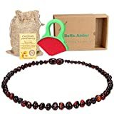 Baby Baltic Amber Teething Necklace Jewelry - (Cherry) Anti-Flammatory, Drooling & Free Teething