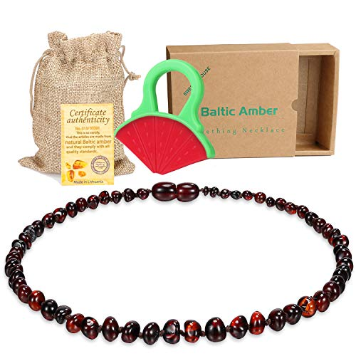 Baby Baltic Amber Teething Necklace Jewelry - (Cherry) Anti-Flammatory, Drooling & Free Teething Toy Pain Reduce - Reduces Tension and Fear, Teething Necklace for 3 to 36 Months Babies,Boys and Girls