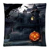 Throw Pillowcase, Kimloog Pumpkin Owl Bat Skull Bones Print Halloween Linen Sofa Cushion Cover Home Decor Zipper Pillow Cases (D)