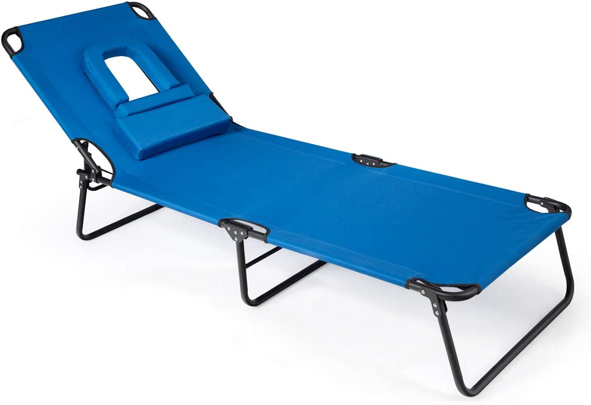 Giantex Adjustable Patio Lounge Chair, Folding Recliner Chaise Lounge with Hole for Face, 3 Positions Adjustable, Durable Metal Structure Reinforced Beam, Sunbathing Beach Pool Chaise Chair Blue
