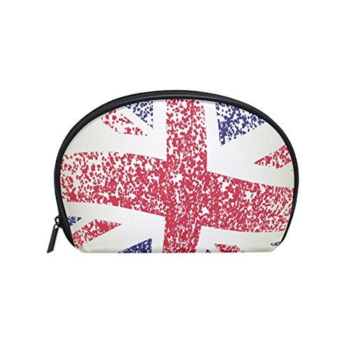ALAZA Retro British Flag Half Moon Cosmetic Makeup Toiletry
