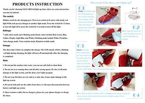 SAGUARO® Unisex 8 Colors USB Carga LED Luz Luminosas Flash Zapatos Zapatillas de Deporte Para Hombres Mujeres Blanco White-2