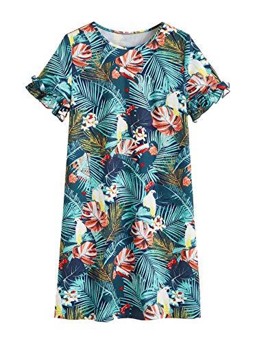 Tropical Flower Dress - Floerns Women's Tropical Leaf Print Short Sleeve Summer Dress Multi-Green XS