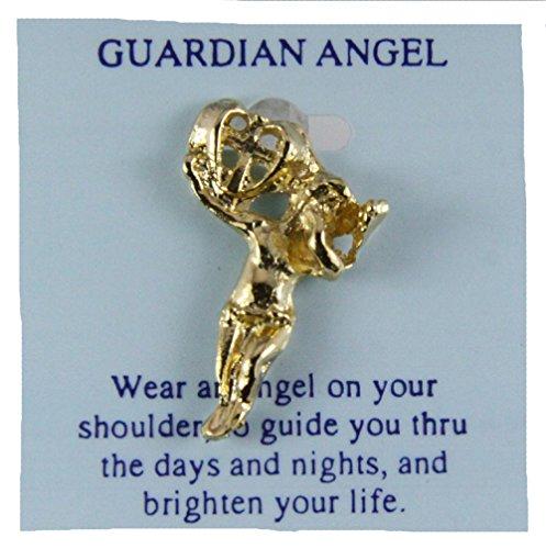 6030170 Guardian Angel Lapel Pin Tie Tack Brooch Michael Archangel - Lapel Gold Angel Pin