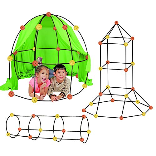 Flexible Build Kit - Construction Fort Building Kit, 77 Pieces+ Storage Bag - Build Castles Tunnels Tents Rocket- Creativity and Teambuilding - Great Discovery of Manual Skills (Orange & Yellow)