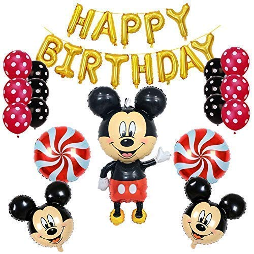 Mickey Mouse Birthday Party supplies and Red Polka Dot 18 pc Balloon -