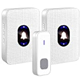 Wireless Doorbell Waterproof Door Bell Doorbell Chime With LED NightLight and Indicator 1000ft Long Range 1 Push Button Transmitter and 2 Plug-in Receivers 55 Ringtones 5 Volume Levels for Home Office