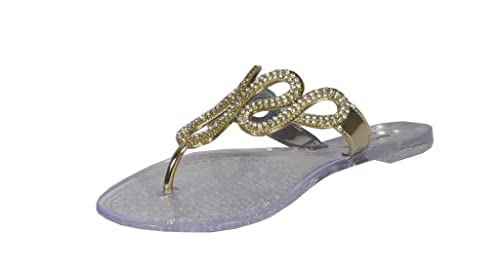 62789c2a79c9d3 Lustacious Women s Diamond Chain Thong Flat Flip Flop Sandals