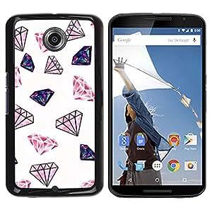 TopCaseStore / la caja del caucho duro de la cubierta de protección de la piel - Diamond Glitter Pink White Minimalist Jewels - Motorola NEXUS 6 / X / Moto X Pro