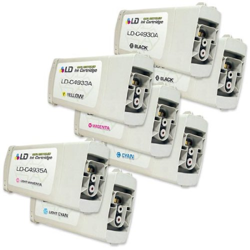 LD Remanufactured Replacement Ink Cartridges for Hewlett Packard (HP 81): 2 Black C4930A, 1 each of Cyan C4931A, Magenta C4932A, Yellow C4933A, Light Cyan C4934A, Light Magenta C4935A by LD Products