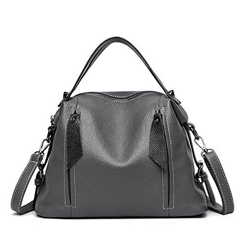 Women'S Genuine Leather Handbags Big Size Vintage Luxury Messenger Bags Shoulder Boston Bag Gray 30CmMax Length50Cm (Bag Messenger Boston)