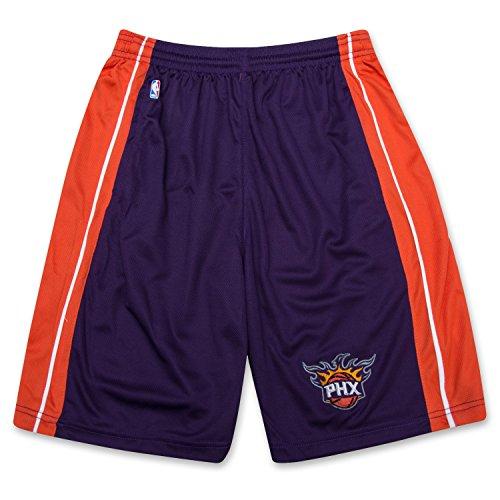 fan products of NBA Boys Athletic Sports Birdseye Shorts With Elastic Waistband and Logo Phoenix Suns Purple Large