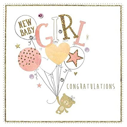 Amazon new born baby girl birth congratulations handmade new born baby girl birth congratulations handmade morello hotchpotch greetings card m4hsunfo