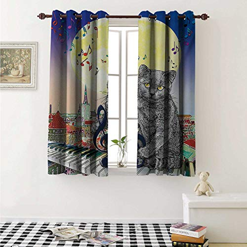 (shenglv City Customized Curtains Musical Notes Cat with The Keyboard on Rooftops in Night Sky Old Town Full Moon Art Print Curtains for Kitchen Windows W63 x L45 Inch Multi)