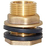 """Joywayus 1/2"""" NPT Female 3/4"""" GHT Male Soild Brass Water Tank Connector Theaded Bulkhead Fitting with 2 Rubber Ring Stablizing"""