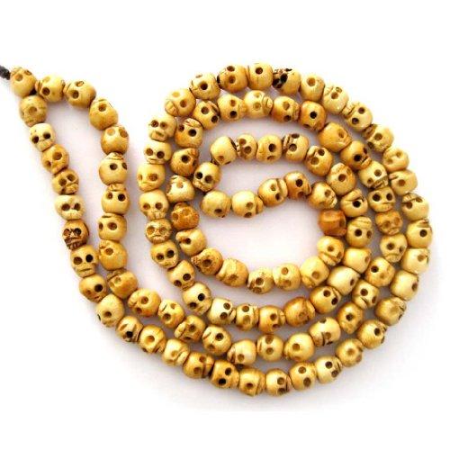 OVALBUY 108 Ox Bone Skull Beads Buddhist Prayer Mala Necklace