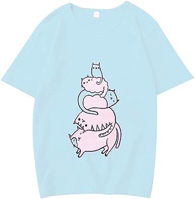 YUFAA Cuello Redondo de Mujer Gato Lindo Gráfico Impresión Graciosa Camisetas Casuales Blusa Tops Camisa de Entrenamiento (Color : Azul, Size : XL): Amazon.es: Ropa y accesorios