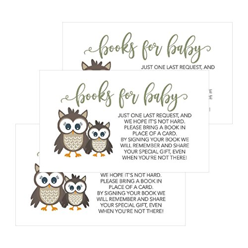 25 Owl Books For Baby Request Insert Card For Boy or Girl Woodland Baby Shower Invitations or invites Cute Bring A Book Instead of A Card Theme For Gender Reveal Party Story Games, Business Card Sized