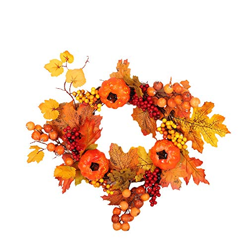 Jeash 2m Feel Real Classical Collection Wreath with Red Berries, Cedar Leaves and LED Lights Pumpkin Harvest Silk Fall Front Door Wreath Front Door Decor with Rich Fall Cool Thanksgiving Decor