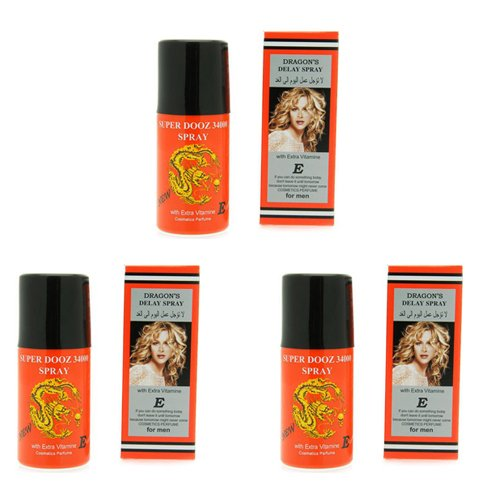 3 x Dragon's 34000 Delay Spray for Men - Last Longer Safe Sex -PLUS LOVE POTION PEN