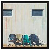 """Remache Vintage azul amarillo y verde sillas en marco de madera negra, 30 """"x 30"""""""