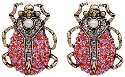LSZFCHEH Pendientes de botón Multicolores Vintage para Mujeres Pendientes de Cristal de joyería con Forma de Animal étnico