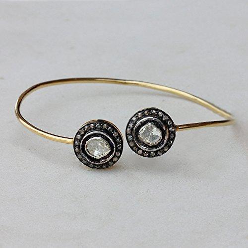 14k Yellow Gold Polki/Rose Cut 0.99 Ct Diamond Cuff Bangle Handmade Bracelet Jewelry 925 Sterling Silver (Diamond Bangle Cut Rose)