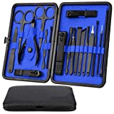 Professional Manicure Set, Pedicure Kit, Nail Clippers, 18pcs Stainless Steel Grooming Kit, Facial Treatment Nail Scissors Grooming Kit with Black Leather Travel Case (Blue) (Color: Blue)