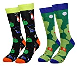 8. Cansok Men's 2/4 Packs Fun Crazy Novelty Dress Crew Socks (Golf - 2 pairs)