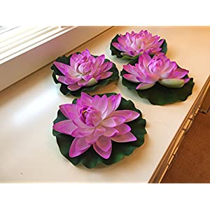 BEST FLOATING FLOWERS SET of 4 for Weddings - Pools - Holidays - Aquarium - Wedding Decorations - Hot Tubs - Extra Large - 11 Inch Each 51