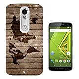 596 - Vintage Wood Design Look Vintage World Map Design Motorola Moto X Play Fashion Trend CASE Gel Rubber Silicone All Edges Protection Case Cover