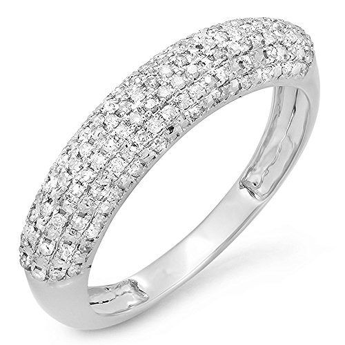 0.30 Carat (ctw) 14k White Gold Round Diamond Ladies Anniversary Wedding Band Ring 1/3 CT (Size 7)