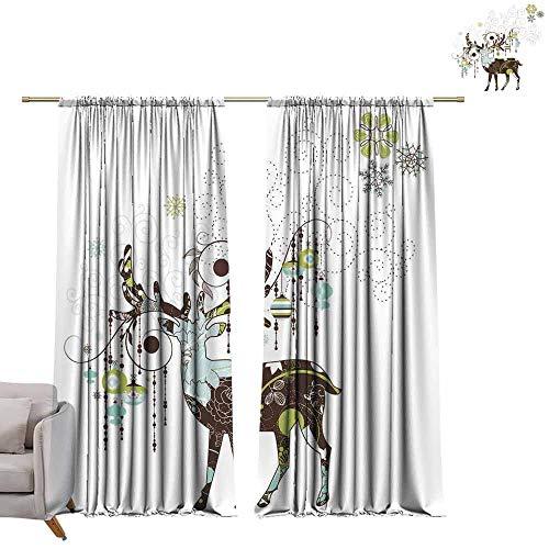 - Adjustable Tie Up Shade Rod Pocket Curtain Elk Art Mix Design (3) W96 x L96 Blackout Draperies for Bedroom Kitchen