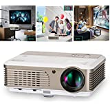 1080P Sports Games Home Entertainment Projector, 2600 Lumens, 1024x600 Native Resolution, 50-150 Image Size, HDMI, USB, VGA, TV, Built-in Speaker, Front/ Rear/ Ceiling